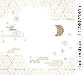 japanese template vector. gold...   Shutterstock .eps vector #1128024845