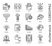 set of 16 icons such as upload...