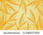 wheat isolated on yellow... | Shutterstock .eps vector #1128037355