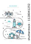 sea vacation vector line... | Shutterstock .eps vector #1128041252