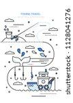 fishing vector line illustration | Shutterstock .eps vector #1128041276