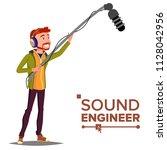 sound engineer man vector.... | Shutterstock .eps vector #1128042956