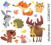 set of cute forest animals... | Shutterstock .eps vector #1128043745