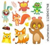 Stock vector cartoon forest animals characters set vector illustration big set of cartoon woodland animals 1128043748