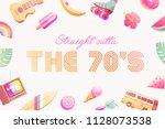 the 70's. hot summer flyer  ... | Shutterstock .eps vector #1128073538