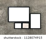 old one wood frame and three... | Shutterstock . vector #1128074915