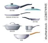 set of metallic pans and... | Shutterstock .eps vector #1128074945