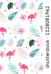 cute tropical pattern with... | Shutterstock .eps vector #1128081962