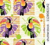 tropical toucan bird. wild... | Shutterstock .eps vector #1128082142
