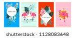 card set with flamingos and... | Shutterstock .eps vector #1128083648