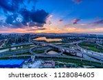 overpass of the light trails ...   Shutterstock . vector #1128084605