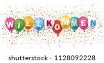 german text willkommen ... | Shutterstock .eps vector #1128092228