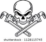 human skull with crossed pipe... | Shutterstock .eps vector #1128115745