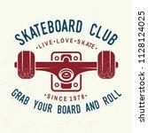 skateboard club badge. vector... | Shutterstock .eps vector #1128124025