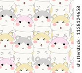 Stock vector cute hamsters seamless pattern on pink background 1128124658