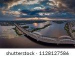 automobile and railroad bridge...   Shutterstock . vector #1128127586