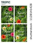 vector illustration of tropical ... | Shutterstock .eps vector #1128141428