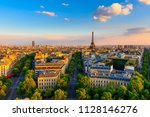 skyline of paris with eiffel... | Shutterstock . vector #1128146276