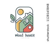 wood house logo design ... | Shutterstock .eps vector #1128165848