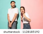 hate  rage. crying emotional... | Shutterstock . vector #1128185192