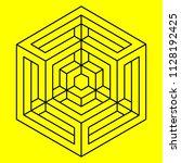 optical illusion  geometric... | Shutterstock .eps vector #1128192425