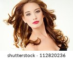 beautiful woman with perfect... | Shutterstock . vector #112820236