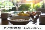 healthy delicious breakfast... | Shutterstock . vector #1128220772