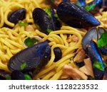 spaghetti pasta with seafood...   Shutterstock . vector #1128223532