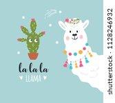 cute llama illustration | Shutterstock .eps vector #1128246932
