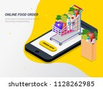 order food  grocery online from ... | Shutterstock .eps vector #1128262985