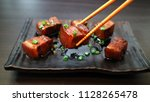 red braised pork belly. classic ... | Shutterstock . vector #1128265478