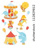 icons on a circus theme with a... | Shutterstock .eps vector #112829812