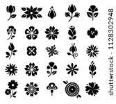 flower blossom buds silhouette... | Shutterstock .eps vector #1128302948