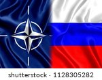 Flag of Russia and Nato Silk