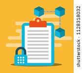 clipboard cyber security... | Shutterstock .eps vector #1128318032