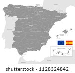 grey vector map of spain with... | Shutterstock .eps vector #1128324842