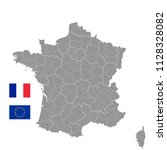 grey vector map of france with... | Shutterstock .eps vector #1128328082