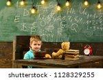 school food. little boy have... | Shutterstock . vector #1128329255