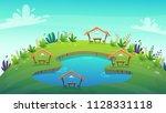 4 cartoon picnic camping at... | Shutterstock .eps vector #1128331118
