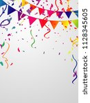 the confetti background is used ... | Shutterstock .eps vector #1128345605
