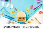 september 1 on a wooden... | Shutterstock . vector #1128409802