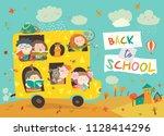 children on the way to school   Shutterstock .eps vector #1128414296