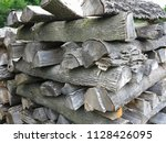 preparation of firewood for the ... | Shutterstock . vector #1128426095