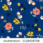 floral spring pattern ditsy... | Shutterstock .eps vector #1128428708