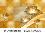3d golden floral abstraction... | Shutterstock . vector #1128429308