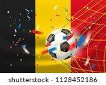 belgium wins. ball in a net.... | Shutterstock .eps vector #1128452186