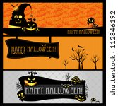 halloween vector card  or... | Shutterstock .eps vector #112846192