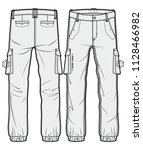 cargo pants with large side... | Shutterstock .eps vector #1128466982