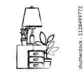 drawer with houseplants and lamp   Shutterstock .eps vector #1128499772