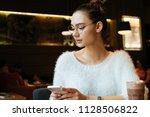 beautiful pensive girl... | Shutterstock . vector #1128506822